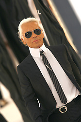 German fashion designer Karl Lagerfeld appears on the catwalk after Chanel Spring-Summer 2007 Ready-to-Wear fashion show, held at Le Grand Palais in Paris, France, on October 6, 2006. Photo by Khayat-Nebinger-Orban-Taamallah/ABACAPRESS.COM