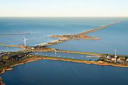 Nederland, Noord-Holland, Den Oever, 11-12-2013; begin Afsluitdijk met Stevinsluizen - spuisluizen, rechts de schutsluis. Waddenzee links in beeld.<br /> Beginning Enclosure Dam with Stevin Sluices and lock. Waddenzee (left).<br /> luchtfoto (toeslag op standaard tarieven);<br /> aerial photo (additional fee required);<br /> copyright foto/photo Siebe Swart.