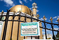 © Licensed to London News Pictures. 20/07/2020. London, UK. Wightman Road Mosque, also known as London Islamic Cultural Society and Mosque, in north London reopens for Zuhr (the afternoon prayer) after almost four months of lockdown. Last month the government announced that gatherings of more than 30 worshippers are allowed for acts of communal worship in churches, synagogues, mosques, temples and other places of worship. All worshippers attending Mosques have to wear face coverings and bring their own prayer mat, Quran, and a reusable shoe bag. Photo credit: Dinendra Haria/LNP