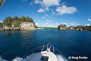 charter fishing vessel Reel Addiction approaches Hunga Island and pass into Hunga Lagoon, Vava'u, Kingdom of Tonga, South Pacific