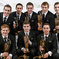8 November 2013; Clare hurler, back row, from left, Patrick Donnellan, Brendan Bugler, Conor Ryan, David McInerney and Colm Galvin, with front row, from left, Pádraic Collins, Player of the Year and Young Player of the Year Tony Kelly and Conor McGrath with their 2013 GAA GPA All-Star award, sponsored by Opel, at the 2013 GAA GPA All-Star awards in Croke Park, Dublin. Picture credit: Paul Mohan / SPORTSFILE *** NO REPRODUCTION FEE ***
