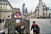 Engeland, Londen, 10-4-2019Straatbeeld van het centrum van de stad. Beeld uit de city, het financiele district, financial, waar yuppen op straat bezig zijn met hun smartphone,mobiel,mobieltje,en veel met de fiets naar het werk gaan .  zakenmensen,banken,bankendistrict,wijk,buurt,werk,arbeid,kantoor,kantoren,kantoorpersoneel,geld,bankensector,sector,financieel,centrum,jong,jonge,personeel,banking,geld,monetair,aandelenhandel,handel,pond,euro, zaken,zakendistrict,zakenwijk,handelaren,beurs,beurshandel,Foto: Flip Franssen