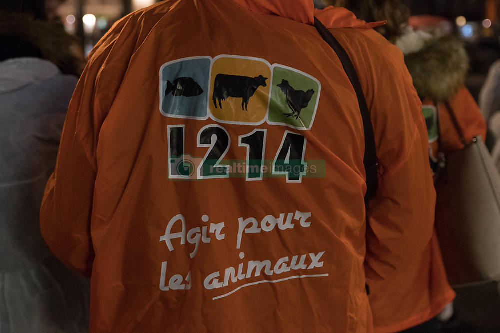 October 31, 2018 - Nantes, France - On Wednesday, October 31, about twenty members of the association L214 activist for the protection of animals in food production, organized a macabre stroll in the streets of Nantes to alert the sordid conditions in which animals were treated in slaughterhouses.The association has chosen the date of October 31 for its happening to remind that for these animals 'Halloween is every day' (Credit Image: © Estelle Ruiz/NurPhoto via ZUMA Press)