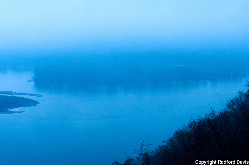 The Mississippi River on a cold, pre-dawn winter morning from Pike's Peak