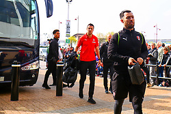 Richie Towell, Richard Wood and Zak Vyner of Rotherham United arrive at the Pride Park Stadium, home to Derby County - Mandatory by-line: Ryan Crockett/JMP - 30/03/2019 - FOOTBALL - Pride Park Stadium - Derby, England - Derby County v Rotherham United - Sky Bet Championship