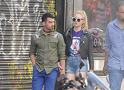 EXCLUSIVE Game of Thrones star Sophie Turner enjoys lunch with boyfriend Joe Jonas. The glamorous young couple dined al fresco at The Ivy Soho Brasserie in central London<br /><br />27 May 2017.<br /><br />Please byline: PalaceLee/Vantagenews.com