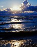 Sunrise over Lake Erie from the shore of Kelleys Island, Ohio.