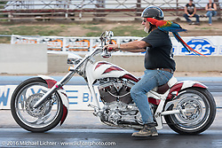 Myles Bratter with Rainbow, the world's fastest macaw makes a pass at the Sturgis Dragway during the annual Sturgis Black Hills Motorcycle Rally.  SD, USA. Sunday, August 7, 2016.  Photography ©2016 Michael Lichter.