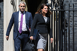 London, UK. 21 May, 2019. Stephen Barclay MP, Secretary of State for Exiting the European Union, and Caroline Nokes MP, Secretary of State for Immigration, leave 10 Downing Street following a Cabinet meeting.