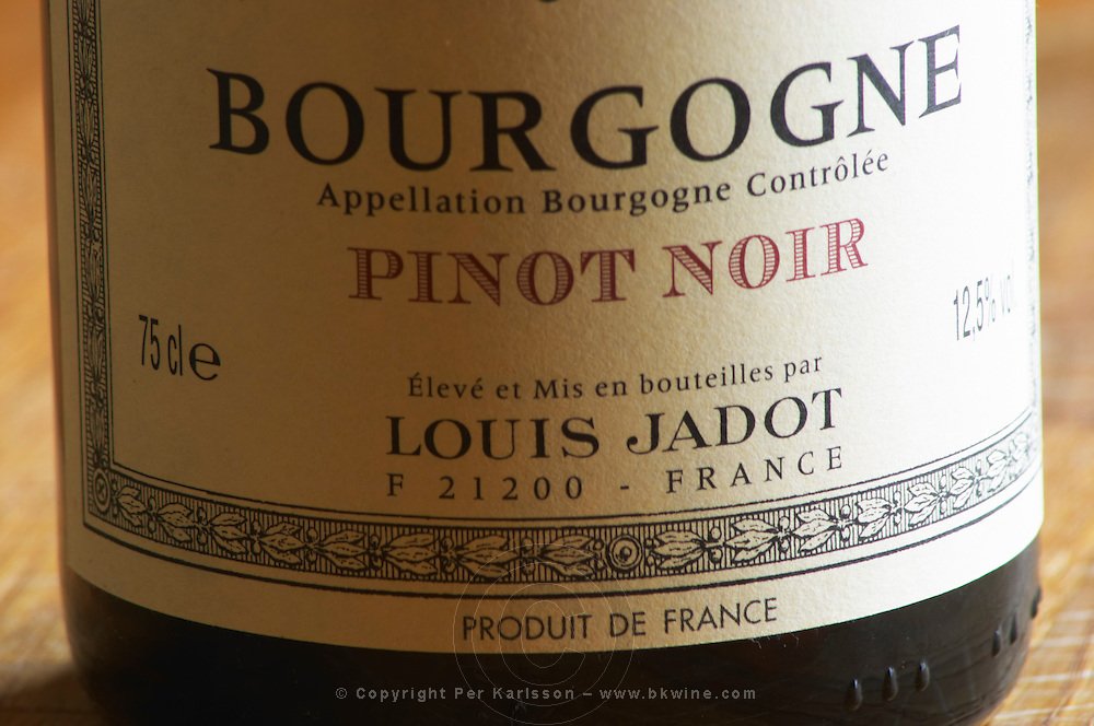 Closeup close-up of a wine bottle label Maison Louis Jadot Bourgogne Pinot Noir Appellation Bourgogne Controlee, Maison Louis Jadot, Beaune Côte Cote d Or Bourgogne Burgundy Burgundian France French Europe European