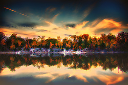 Klondike Park Sunset In Autumn - Located in Saint Charles County Missouri - This Moody Fall Waterscape Highlights The Gorgeous Natural Landscape Details