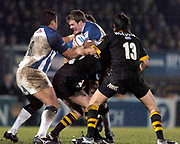 2004/05 Zurich Premiership, London Wasps vs Bath. Causeway Stadium, High Wycombe, ENGLAND:<br />Baths full back Matt Perry run's,with the ball. into Wasps defence.<br /><br />Photo  Peter Spurrier. <br />email images@intersport-images