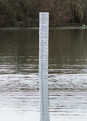 © Licensed to London News Pictures. 03/01/2021. Oxford, UK. A monolith which has appeared in a flooded Oxford park. The object appeared overnight in Oatlands Park, West Oxford. It follows the appearance of similar monoliths in parts of the UK and around the world. Photo credit: Andre Camara/LNP