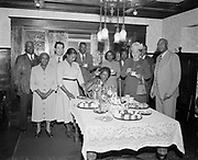 Y-481215B-1,  Thelma Street, Negro dancer, at home with her new White husband, John Edgar. December 15, 1948
