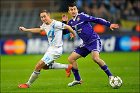 Fotball<br /> 06.11.2012<br /> Foto: PhotoNews/Digitalsport<br /> NORWAY ONLY<br /> <br /> BRUSSELS, BELGIUM - NOVEMBER 06: Behrang Safari of RSC Anderlecht battles for the ball with Vladimir Bystrov of FC Zenit St-Petersburg during the UEFA Champions League Group C match between RSC Anderlecht and FC Zenit St Petersburg at the Constant Vanden Stock Stadium on 06 november 2012 in Brussels, Belgium