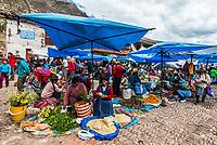 Pisac, Peru - July 14, 2013: people in the Pisac Market in the peruvian Andes at Pisac Peru on july 14th, 2013