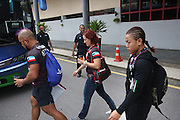 """Ann Osman, Malaysia WMMA star, on her way to the coach to take her to the stadium<br /><br />MMA. Mixed Martial Arts """"Tigers of Asia"""" cage fighting competition. Top professional male and female fighters from across Asia, Russia, Australia, Malaysia, Japan and the Philippines come together to fight. This tournament takes place in front of a ten thousand strong crowd of supporters in Pelaing Stadium. Kuala Lumpur, Malaysia. October 2015"""