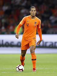 Virgil van Dijk of Holland during the International friendly match match between The Netherlands and Peru at the Johan Cruijff Arena on September 06, 2018 in Amsterdam, The Netherlands