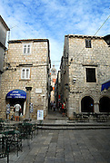 Paved square and buildings, Korcula old town, island of Korcula, Croatia