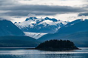 Herbert Glacier, in Tongass National Forest, seen from the ferry northbound from Juneau, Alaska, USA. Alaska Marine Highway System.