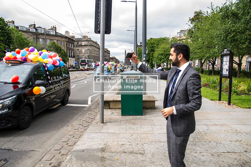 Pictured: Humza Yousaf<br /> <br /> There were np prisoners taken when the Edinburgh Taxi Drivers annual charity trip headin g towards Princes Street with Transport minister Humza Yousaf and policeman making great targets for the water bombs and water pistols carried by the young passengers.<br /> <br /> Ger Harley | EEm 13 June 2017