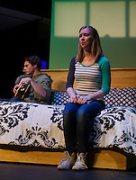 """Teghan Kelly (Lizzie) tells Evan Clinton (Danny) that she's pregnant during a scene in """"Baby"""" the musical at the Winnipesaukee Playhouse on Monday evening.  (Karen Bobotas/for the Laconia Daily Sun)"""