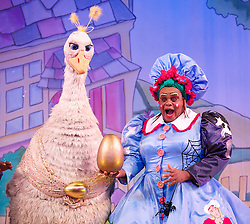 Mother Goose <br /> at the Hackney Empire, London, Great Britain <br /> press photocall<br /> 20th November 2014 <br /> <br /> <br /> Alix Ross as Priscilla (the Goose) <br /> Clive Rowe as Mother Goose <br /> <br /> Photograph by Elliott Franks <br /> Image licensed to Elliott Franks Photography Services