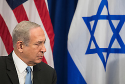 Prime Minister of Israel Benjamin Netanyahu looks on as he meets with U.S. President Barack Obama during a bilateral meeting at the Lotte New York Palace Hotel, September 21, 2016 in New York City. Last week, Israel and the United States agreed to a $38 billion, 10-year aid package for Israel. Obama is expected to discuss the need for a 'two-state solution' for the Israeli-Palestinian conflict. Photo by Drew Angerer/Pool/ABACAPRESS.COM