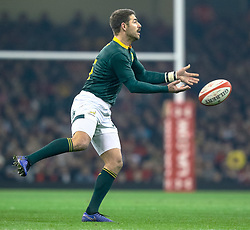 Willie Le Roux of South Africa<br /> <br /> Photographer Simon King/Replay Images<br /> <br /> Under Armour Series - Wales v South Africa - Saturday 24th November 2018 - Principality Stadium - Cardiff<br /> <br /> World Copyright © Replay Images . All rights reserved. info@replayimages.co.uk - http://replayimages.co.uk