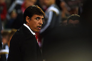 Wales manager Chris Coleman looks on before k/o.Euro 2016 qualifying group B match, Wales v Bosnia- Herzegovina at the Cardiff city Stadium in Cardiff, South Wales on Friday 10th Oct 2014.<br /> pic by Andrew Orchard, Andrew Orchard sports photography.