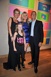 Left to right, the MARCHIONESS OF BUTE, her daughters LADY LOLA CRICHTON-STUART,  JAZZY DE LISSER in blue and the MARQUESS OF BUTE at fundraising dinner and auction in aid of Liver Good Life a charity for people with Hepatitis held at Christies, King Street, London on 16th September 2009.