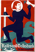 The Gratitude of the Kaiser and the People  to the Army and Navy'.  World War I German poster 1916.  Figure reminiscent of a Teutonic knight kneels sword in hand, a dove of peace with olive sprig in beak, rests on knight's fist.