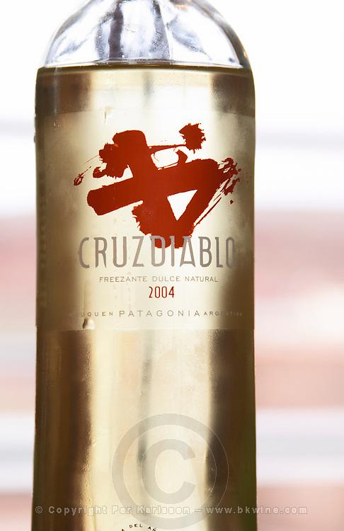 Bottle of Cruzdiabolo, semi-sweet sparkling wine Bodega Del Anelo Winery, also called Finca Roja, Anelo Region, Neuquen, Patagonia, Argentina, South America