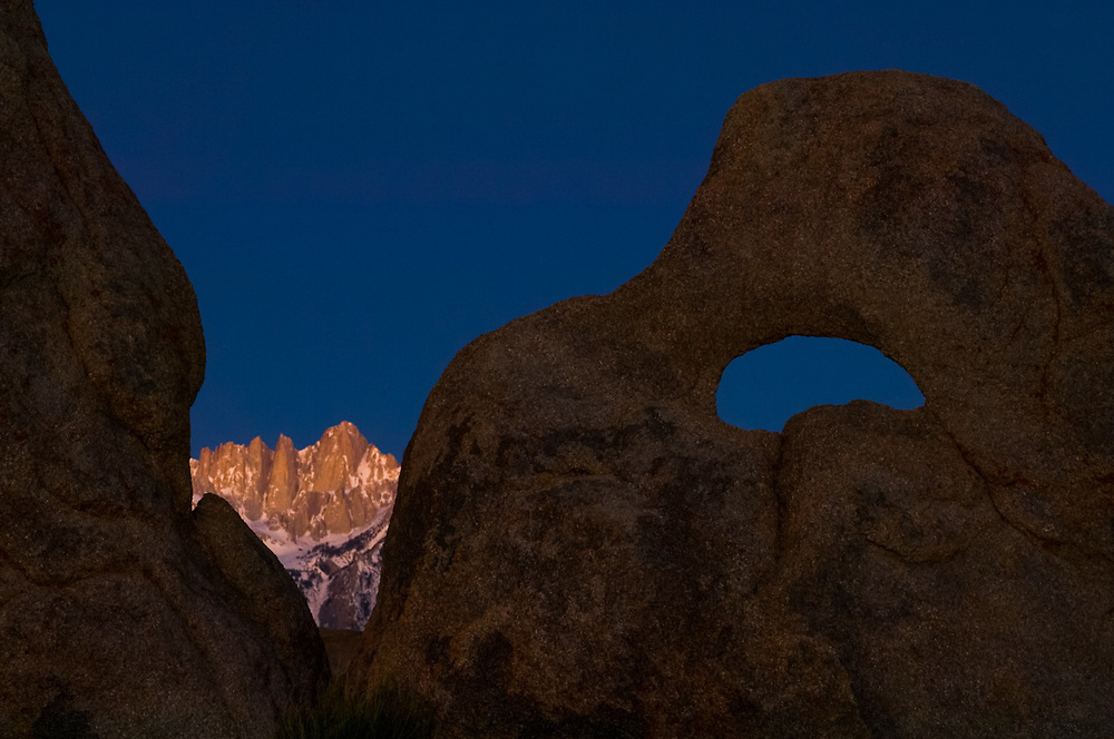 Summit of Mount Whitney, highest peak in the contiguous United States, elevation 14,505 feet, April, morning light, view from the Alabama Hills Recreation Area, U.S. Bureau of Land Management, Whitney Portal, eastern Sierra Mountains, Inyo County, California, USA