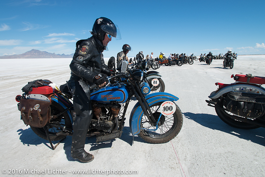 Pat Simmons of the Doobie Brothers with his 1929 Harley-Davidson JD after the Panorama portrait on the Bonneville Salt Flats during stage 12 (299 m) of the Motorcycle Cannonball Cross-Country Endurance Run, which on this day ran from Springville, UT to Elko, NV, USA. Wednesday, September 17, 2014.  Photography ©2014 Michael Lichter.