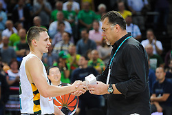 Paulius Jankunas and Arvydas Sabonis of Lithuania after the friendly match between National Teams of Slovenia and Lithuania before World Championship Spain 2014 on August 18, 2014 in Kaunas, Lithuania. Photo by Robertas Dackus / Sportida.com