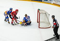 #91 Tadej Cimzar of Jesenice during ice hockey match between HK SIJ Acroni Jesenice and Asiago Hockey in Round #3 of Alps Hockey League 2018/19 , on September 22, 2018 in Podmezakla hall , Jesenice, Slovenia. Photo by Urban Meglic / Sportida
