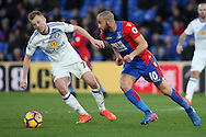 Sebastian Larsson of Sunderland (L) in action with Andros Townsend of Crystal Palace (R). Premier League match, Crystal Palace v Sunderland at Selhurst Park in London on Saturday 4th February 2017. pic by Steffan Bowen, Andrew Orchard sports photography.