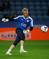 Kasper Schmeichel of Leicester City during the warm up  - Mandatory byline: Jack Phillips/JMP - 07966386802 - 22/09/2015 - SPORT - FOOTBALL - Leicester - King Power Stadium - Leicester City v West Ham United - Capital One Cup Round 3