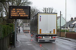© Licensed to London News Pictures. 21/12/2020. <br /> Ashford, UK. An Operation Stack sign in Ashford, Kent. A major police operation is underway in Kent as Operation Stack is implemented on the M20 due to the Port of Dover and Channel Tunnel having to close in response to France closing its borders to the UK. All freight and passenger traffic have been banned for 48 hours due to the new mutant strain of the Coronavirus in England. traffic. Photo credit:Grant Falvey/LNP