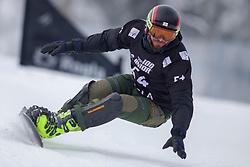Revaz Nazgaidze (GEO) during Final Run at Parallel Giant Slalom at FIS Snowboard World Cup Rogla 2019, on January 19, 2019 at Course Jasa, Rogla, Slovenia. Photo byJurij Vodusek / Sportida