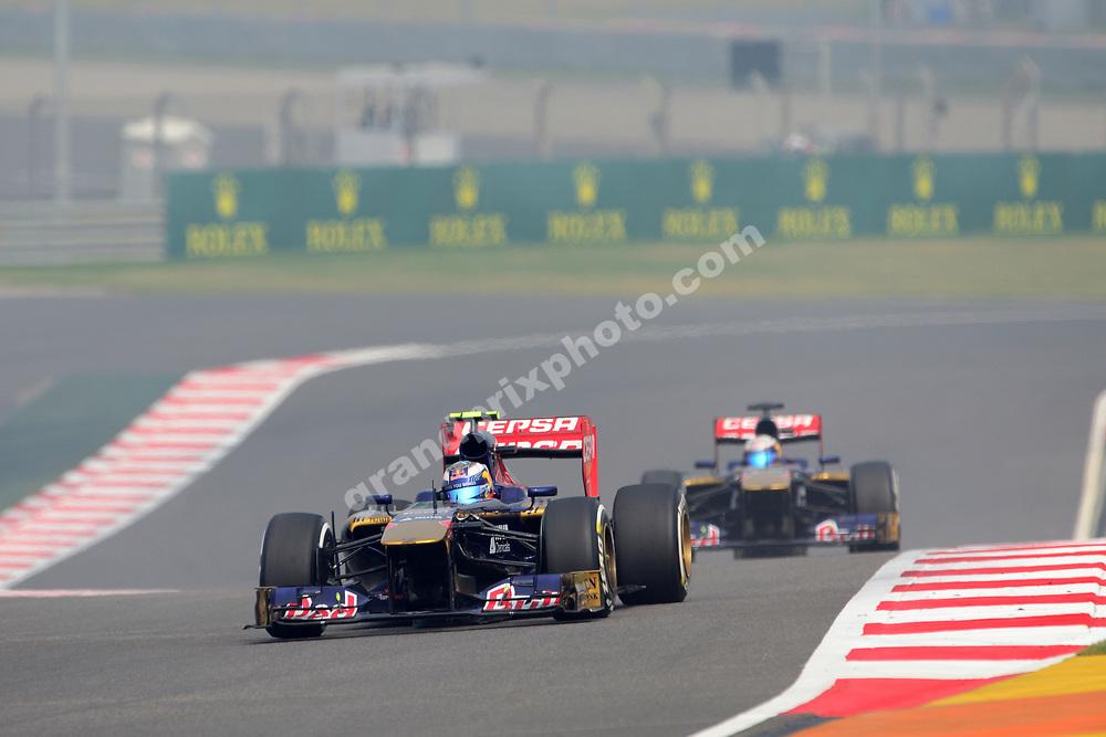 Daniel Ricciardo leads Toro Rosso-Ferrari team-mate Jean-Eric Vergne during practice for the 2013 Indian Grand Prix at the Buddh International Circuit outside Delhi. Photo: Grand Prix Photo