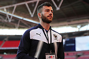 AFC Wimbledon defender Jon Meades (3) arriving during the The FA Cup 3rd round match between Tottenham Hotspur and AFC Wimbledon at Wembley Stadium, London, England on 7 January 2018. Photo by Matthew Redman.