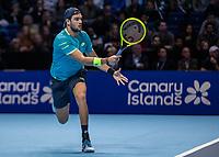 Tennis - 2019 Nitto ATP Finals at The O2 - Day One<br /> <br /> Singles Group Bjorn Borg: Novak Djokovic vs. Matteo Berrettini<br /> <br /> Matteo Berrettini (Italy) in action <br /> <br /> COLORSPORT/DANIEL BEARHAM