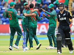 Bangladesh's players celebrate the run out of New Zealand's Kane Williamson (right) during the ICC Champions Trophy, Group A match at Sophia Gardens, Cardiff.