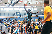 THOUSAND OAKS, CA Sunday, August 12, 2018 - Nike Basketball Academy. Kahlil Whitney 2019 #17 of Roselle Catholic HS glides to the basket for two points. <br /> NOTE TO USER: Mandatory Copyright Notice: Photo by John Lopez / Nike