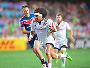 USA player Folau Niua scores a try  during USA v Russia match in the Cathay Pacific/HSBC Hong Kong 7s at Hong Kong Stadium, Hong Kong, Hong Kong on 7 April 2017. Photo by Ian  Muir.*** during *** v *** in the Cathay Pacific/HSBC Hong Kong 7s at Hong Kong Stadium, Hong Kong, Hong Kong on 7 April 2017. Photo by Ian  Muir.