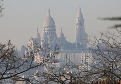 The Sacre Coeur basilica is seen in a heavy smog in Paris, France, on December 8, 2016. The pollution in Paris right now is the worst it has been in a decade, and public transport has been free since Tuesday. The pollution level will still be high on Thursday, with authorities announcing that there will be a third consecutive day of travel restrictions. Only vehicles with even-numbered registration plates will be allowed on the road, or the drivers will face fines. Photo by Somer/ABACAPRESS.COM
