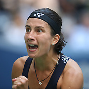 2017 U.S. Open Tennis Tournament - DAY SEVEN. Anastasija Sevastova of Latvia celebrates a service break against Maria Sharapova of Russia during the Women's Singles round four match at the US Open Tennis Tournament at the USTA Billie Jean King National Tennis Center on September 03, 2017 in Flushing, Queens, New York City.  (Photo by Tim Clayton/Corbis via Getty Images)