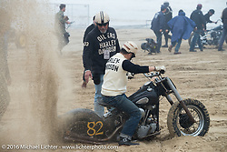 Mr. Miya's Knucklehead got stuck in the soft sand getting to the pits before the start of TROG West - The Race of Gentlemen. Pismo Beach, CA, USA. Saturday October 15, 2016. Photography ©2016 Michael Lichter.